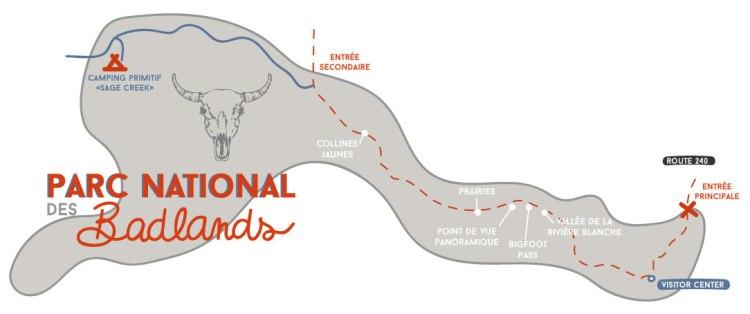 Parc-National-Badlands-Carte