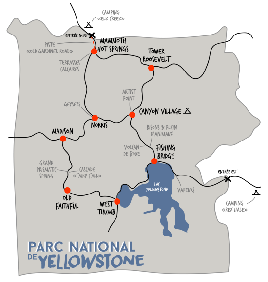 Yellowstone Parc National carte