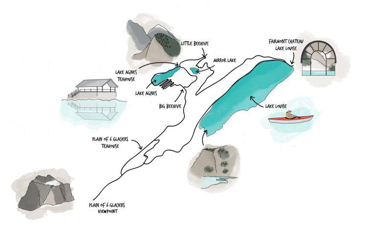Carte Dessin Rando Lake Louise Plain of 6 Glaciers